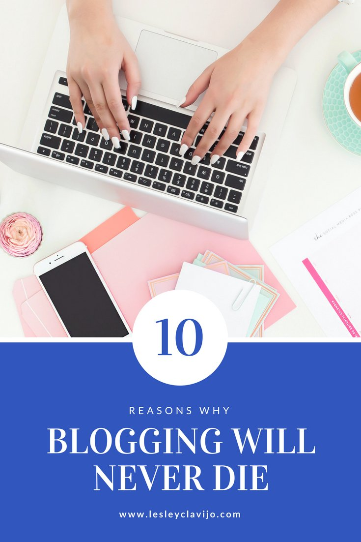 lady typing on apple laptop with text overlay that says 10 reasons blogging will never die